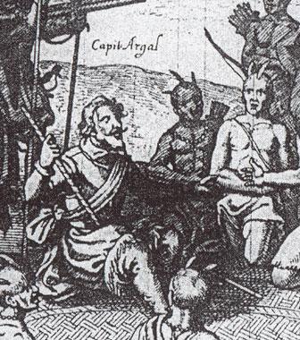 Le capitaine Argall, d'Après Théodore de Bry (cliché BnF)