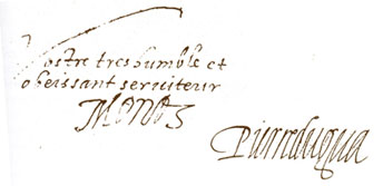 Signature de Pierre DuGua DeMonts