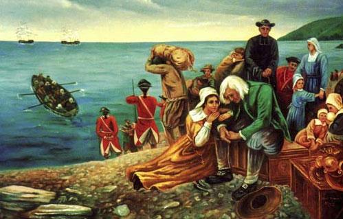 Peinture de la d�portation des Acadiens