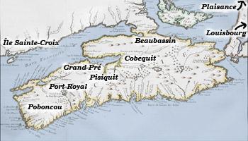 Carte des anciennes régions acadienne et l'Acadie