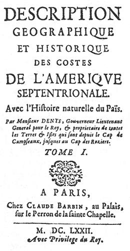 Image de la premiere page du tome 1 du livre a Nicolas Denys