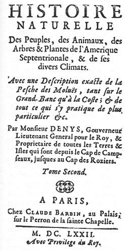 Image de la premiere page du tome 2 du livre a Nicolas Denys