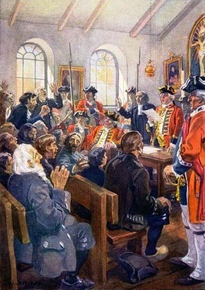 Peinture de l'ordre de déportation des Acadiens